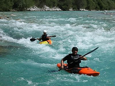 Kayaking down the Soca River