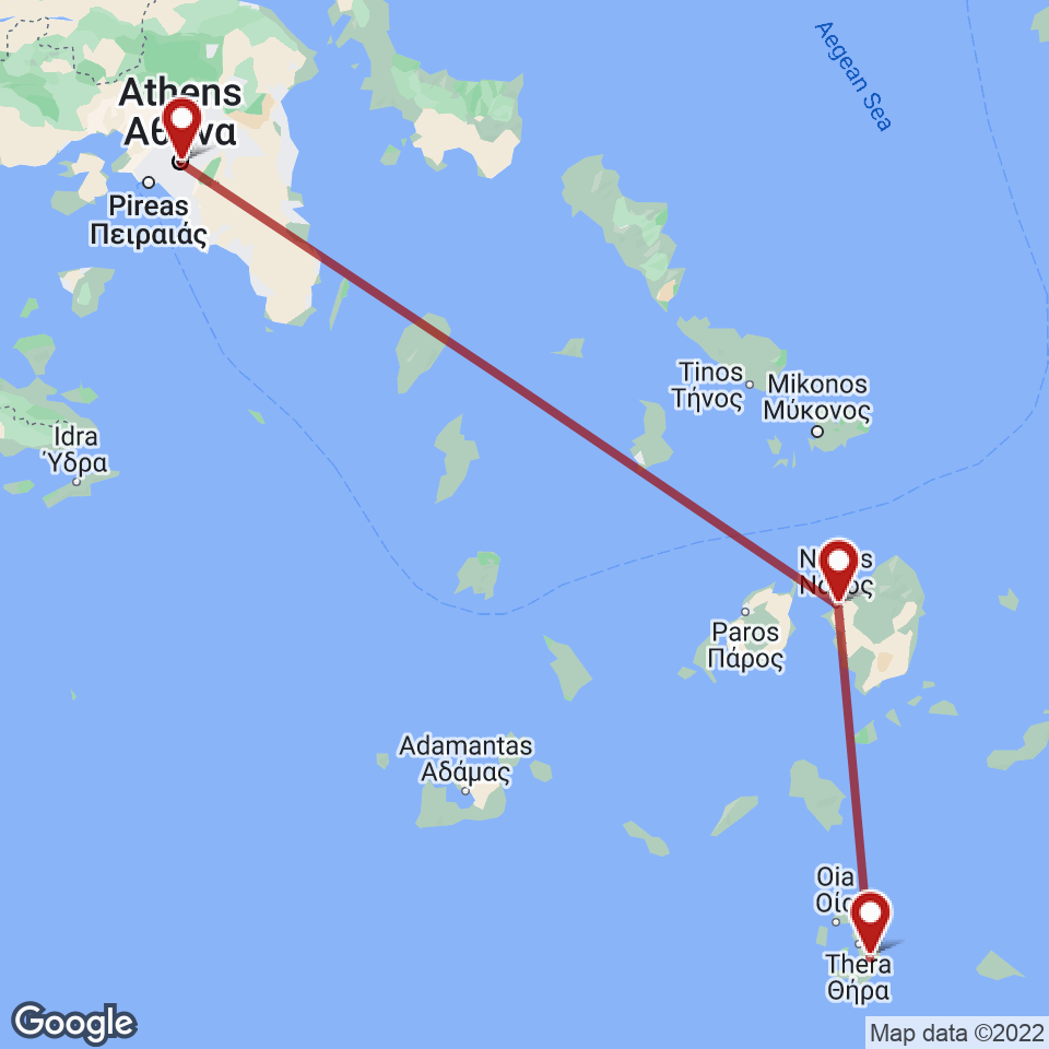 Route for Athens, Naxos, Santorini tour