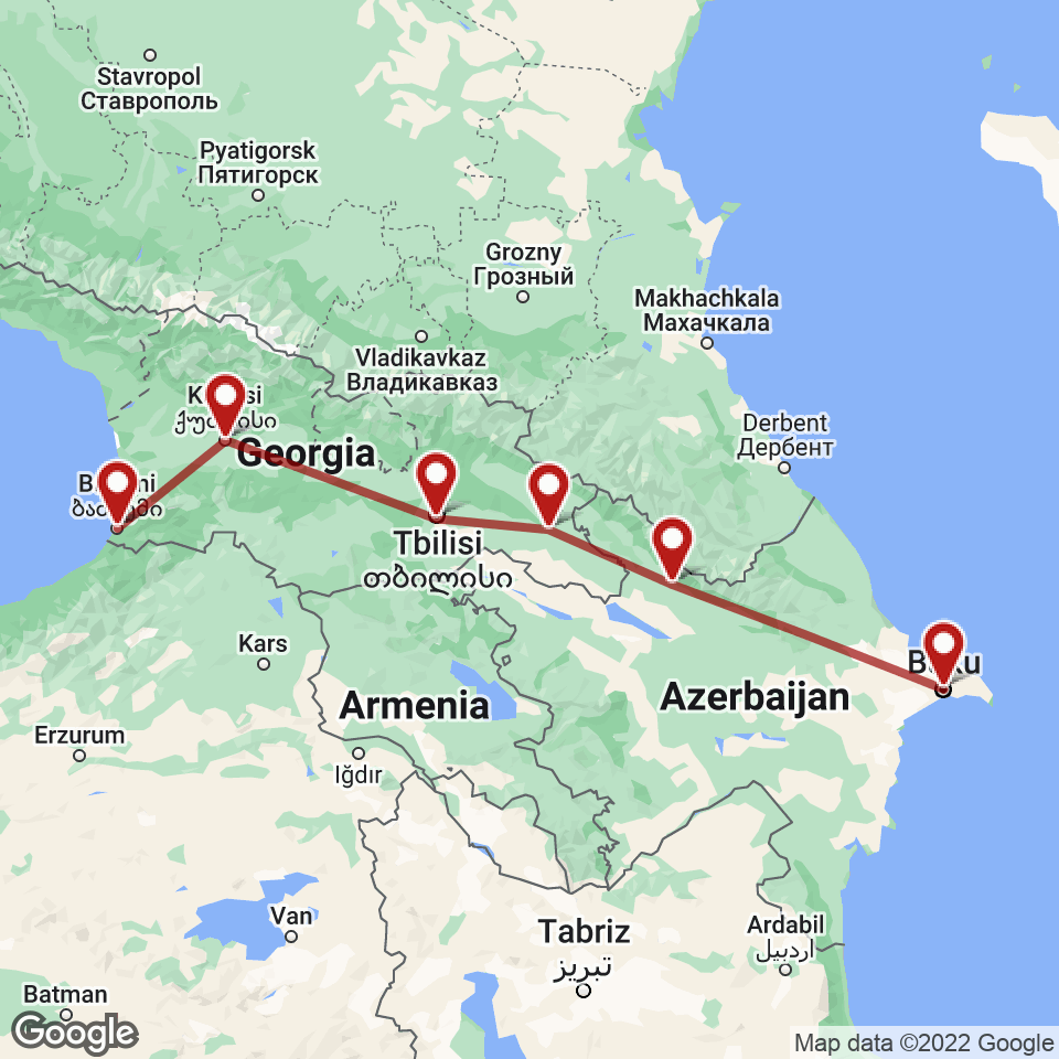 Route for Baku, Sheki, Sighnaghi, Tbilisi, Kutaisi, Batumi tour