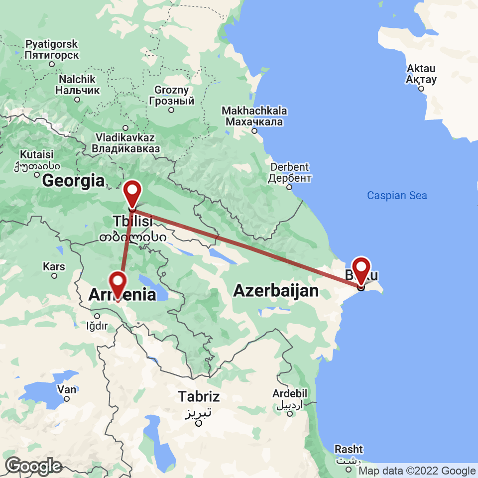 Route for Baku, Tbilisi, Yerevan tour