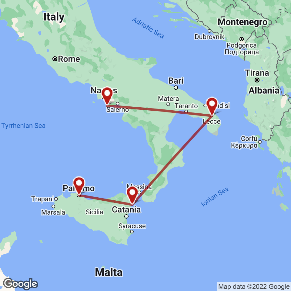 Route for Sorrento, Lecce, Taormina, Palermo tour