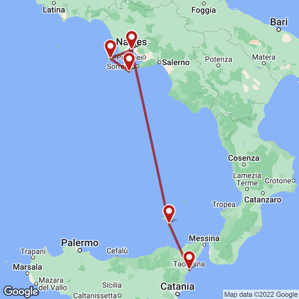 Route for Naples, Capri, Ischia, Naples, Lipari, Taormina tour