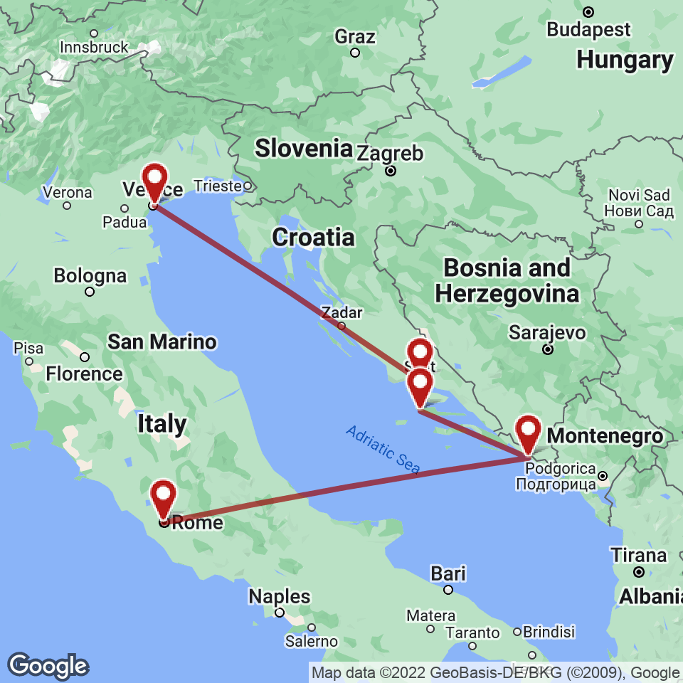Route for Rome, Dubrovnik, Hvar, Split, Venice tour