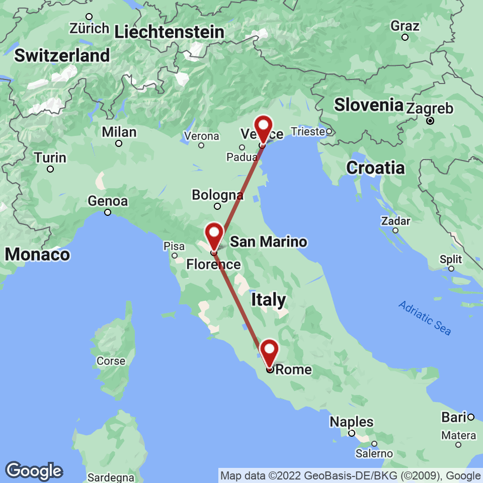 Route for Rome, Florence, Venice tour