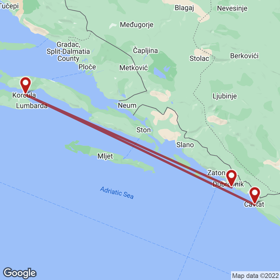 Route for Dubrovnik, Korcula, Cavtat tour