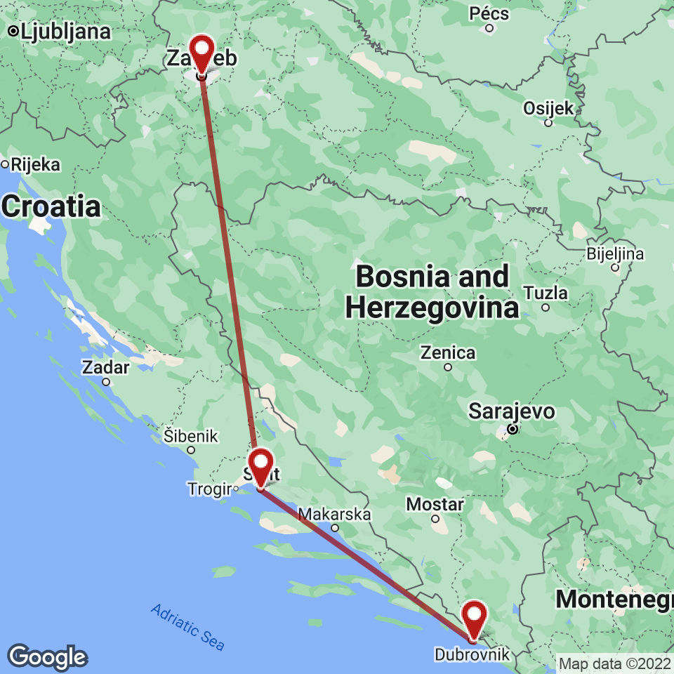 Route for Zagreb, Split, Dubrovnik tour