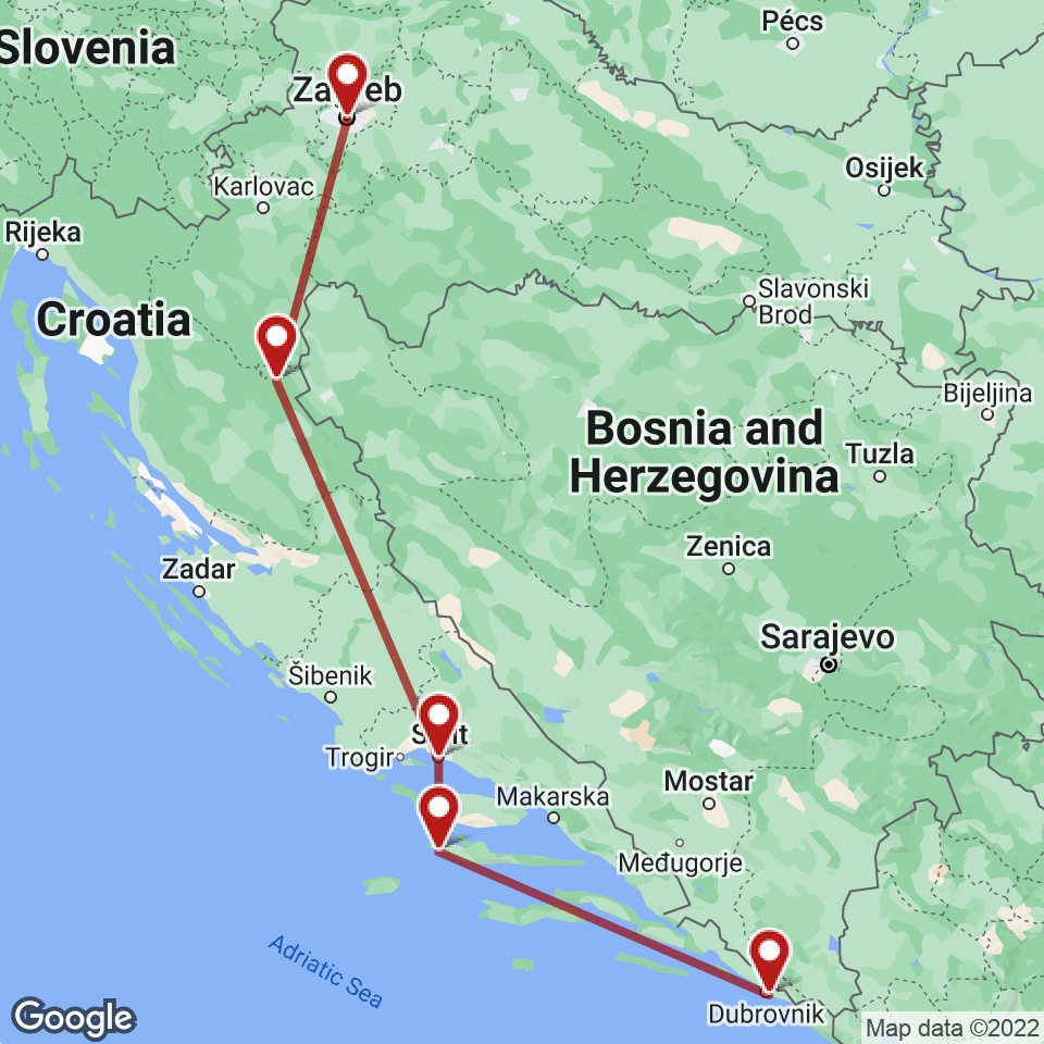 Route for Zagreb, Plitvice, Split, Hvar, Dubrovnik tour