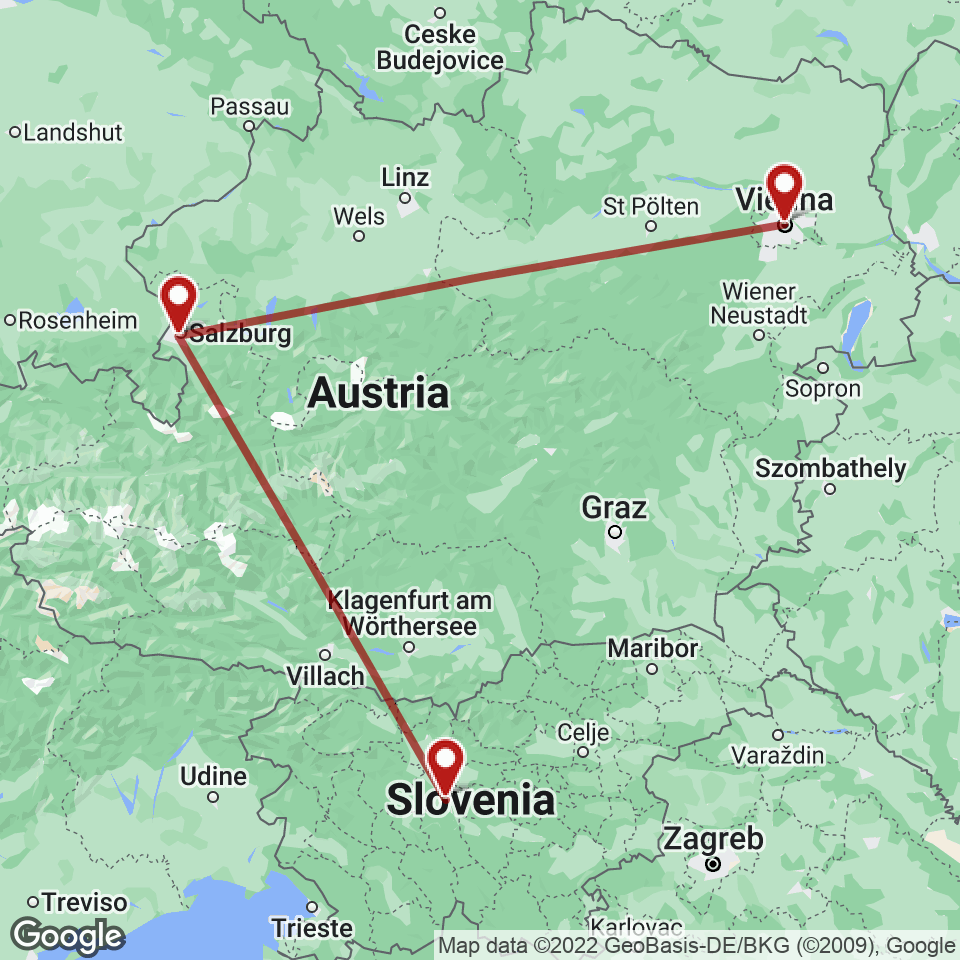 Route for Ljubljana, Salzburg, Vienna tour