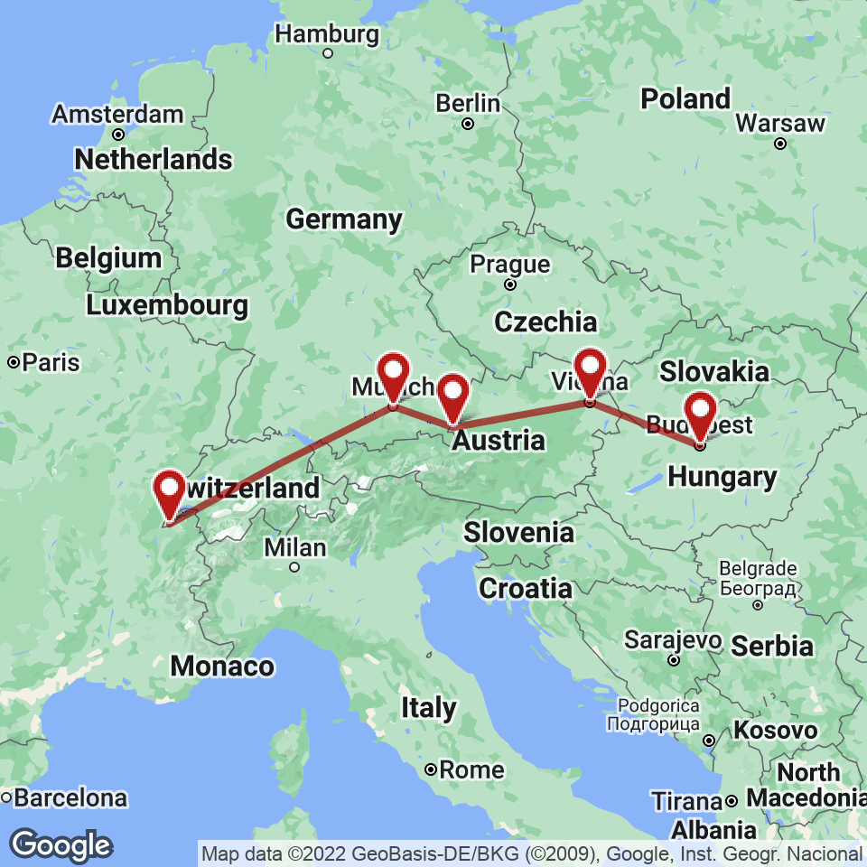 Route for Geneva, Munich, Salzburg, Vienna, Budapest tour