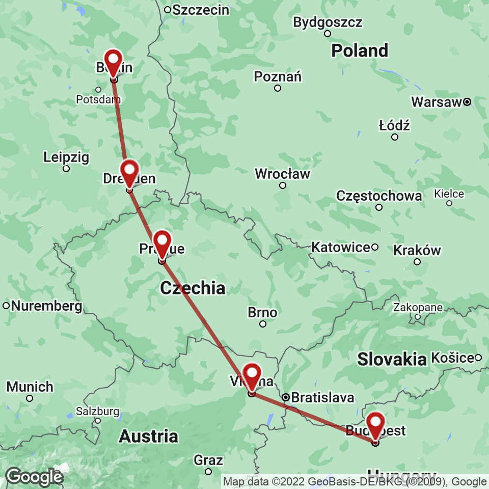 Route for Budapest, Vienna, Prague, Dresden, Berlin tour