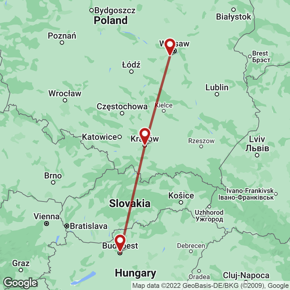 Route for Budapest, Krakow, Warsaw tour