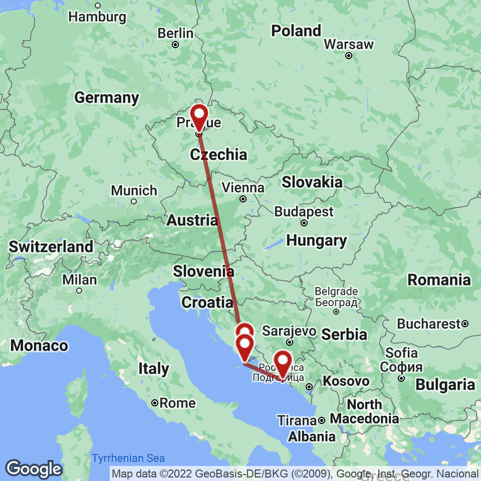 Route for Prague, Split, Hvar, Dubrovnik tour