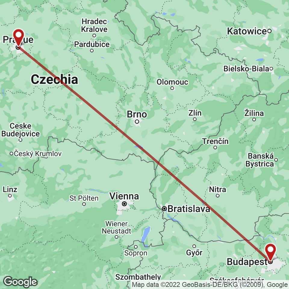 Route for Prague, Budapest tour