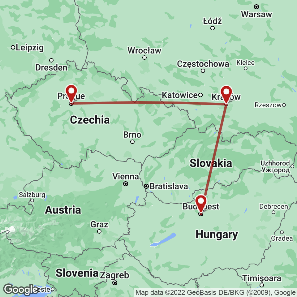 Route for Prague, Krakow, Budapest tour