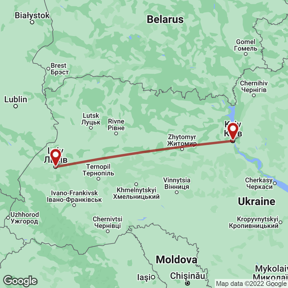 Route for Kyiv, Lviv tour
