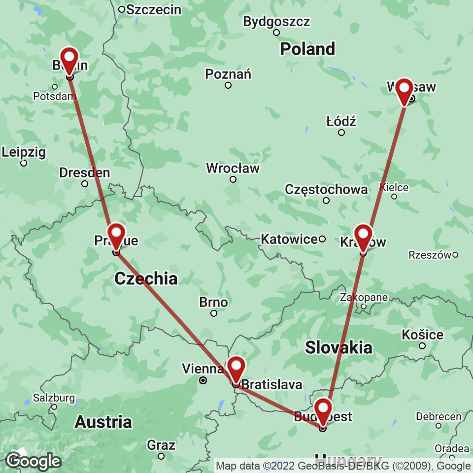 Route for Berlin, Prague, Bratislava, Budapest, Krakow, Warsaw tour