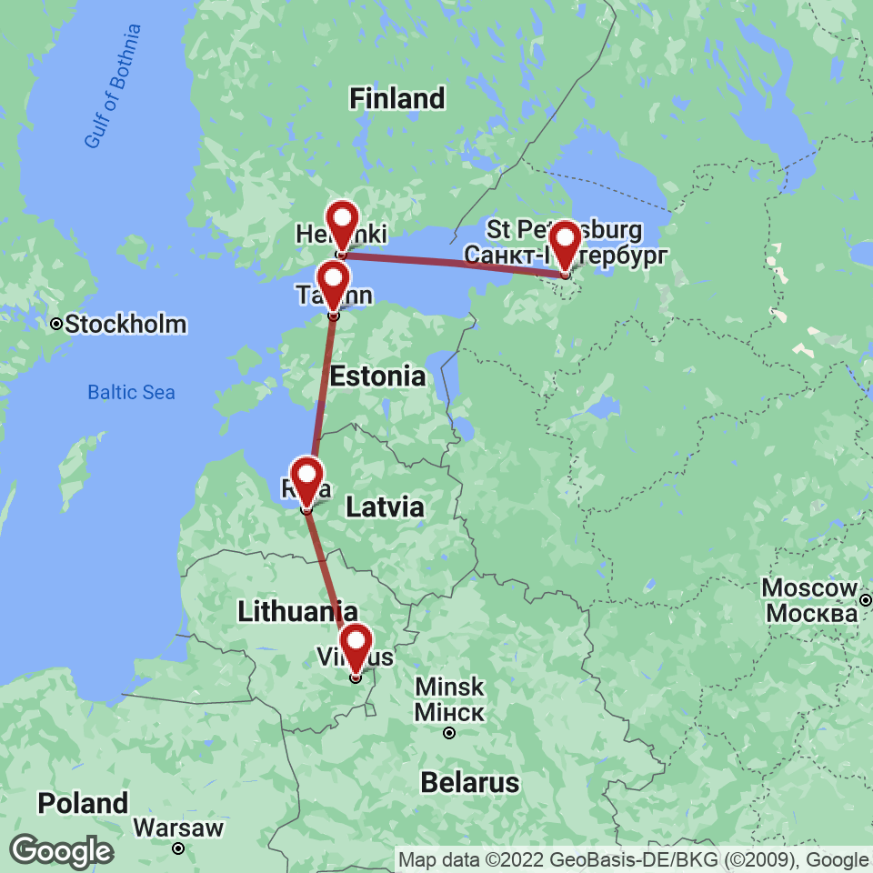 Route for Vilnius, Riga, Tallinn, Helsinki, St. Petersburg tour